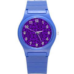Black and Purple String Art Round Plastic Sport Watch Small