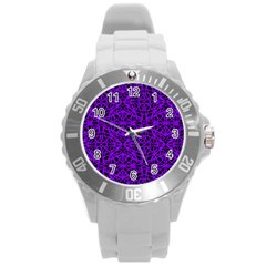 Black and Purple String Art Round Plastic Sport Watch Large