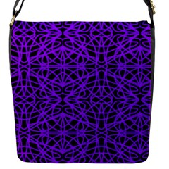Black and Purple String Art Flap closure messenger bag (Small)