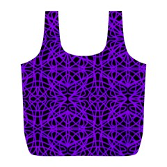 Black and Purple String Art Full Print Recycle Bag (L)