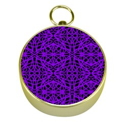 Black and Purple String Art Gold Compass
