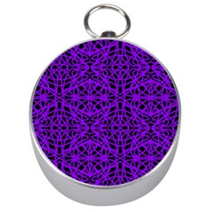 Black and Purple String Art Silver Compass