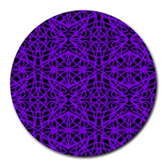Black And Purple String Art Round Mousepad