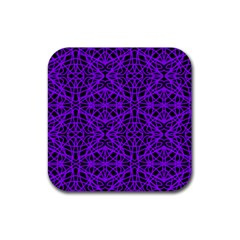 Black and Purple String Art Rubber Square Coaster (4 pack)