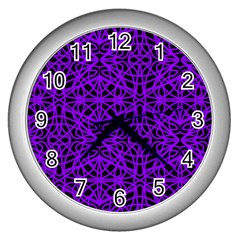 Black and Purple String Art Wall Clock (Silver)