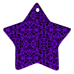 Black and Purple String Art Star Ornament (Two Sides)