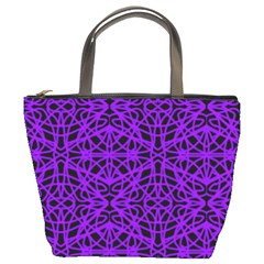 Black And Purple String Art Bucket Bag