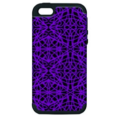 Black And Purple String Art Apple Iphone 5 Hardshell Case (pc+silicone)