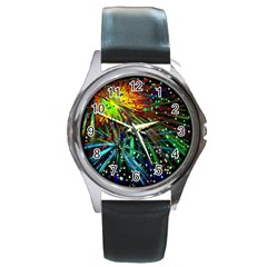 Exploding Fireworks Round Leather Watch (Silver Rim)