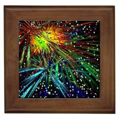 Exploding Fireworks Framed Ceramic Tile