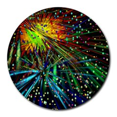 Exploding Fireworks 8  Mouse Pad (Round)
