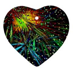 Exploding Fireworks Heart Ornament