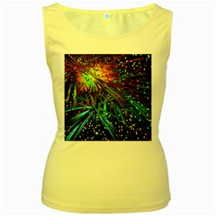 Exploding Fireworks Women s Tank Top (Yellow)
