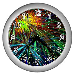 Exploding Fireworks Wall Clock (Silver)