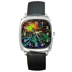 Exploding Fireworks Square Leather Watch