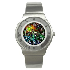 Exploding Fireworks Stainless Steel Watch (Slim)