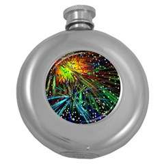 Exploding Fireworks Hip Flask (Round)