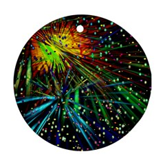 Exploding Fireworks Round Ornament (Two Sides)