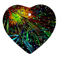 Exploding Fireworks Heart Ornament (Two Sides)