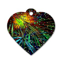 Exploding Fireworks Dog Tag Heart (two Sided)