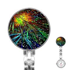 Exploding Fireworks Stainless Steel Nurses Watch