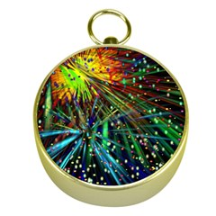 Exploding Fireworks Gold Compass