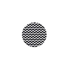 Black And White Zigzag 1  Mini Button Magnet