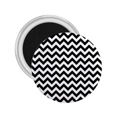 Black And White Zigzag 2.25  Button Magnet