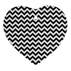 Black And White Zigzag Heart Ornament