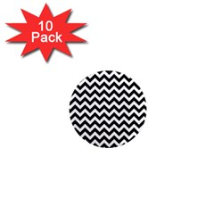 Black And White Zigzag 1  Mini Button Magnet (10 pack)