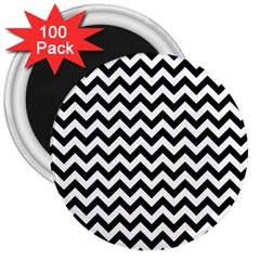 Black And White Zigzag 3  Button Magnet (100 pack)