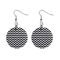 Black And White Zigzag Mini Button Earrings