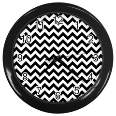 Black And White Zigzag Wall Clock (Black)
