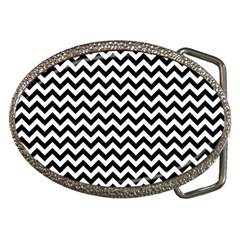 Black And White Zigzag Belt Buckle (oval)