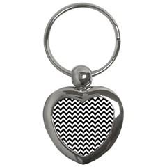 Black And White Zigzag Key Chain (Heart)