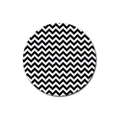 Black And White Zigzag Drink Coasters 4 Pack (round)