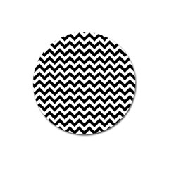 Black And White Zigzag Magnet 3  (Round)