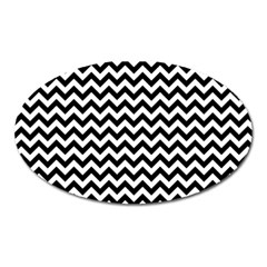 Black And White Zigzag Magnet (Oval)