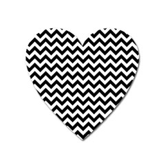 Black And White Zigzag Magnet (heart)