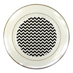 Black And White Zigzag Porcelain Display Plate