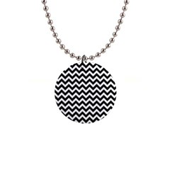 Black And White Zigzag Button Necklace