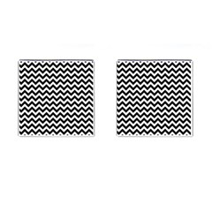 Black And White Zigzag Cufflinks (square)