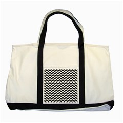 Black And White Zigzag Two Toned Tote Bag