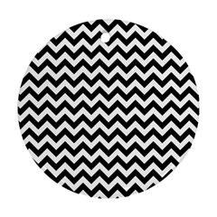 Black And White Zigzag Round Ornament (Two Sides)