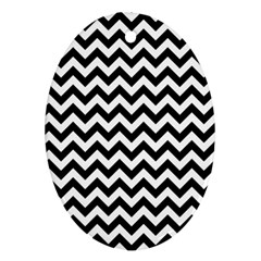 Black And White Zigzag Oval Ornament (Two Sides)