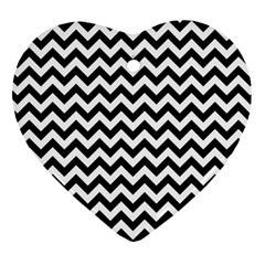 Black And White Zigzag Heart Ornament (Two Sides)