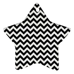 Black And White Zigzag Star Ornament (Two Sides)