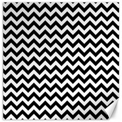 Black And White Zigzag Canvas 16  x 16  (Unframed)