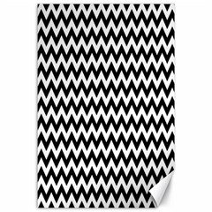 Black And White Zigzag Canvas 24  X 36  (unframed)