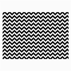 Black And White Zigzag Glasses Cloth (Large, Two Sided)